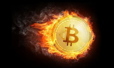 Bitcoin fire black background