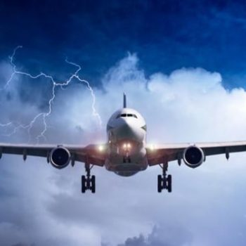 Airplane in thunder, turbulent markets
